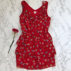Xhilaration floral red ruffle sleeveless dress m